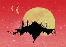 Flying Mosque. Going to the heaven with a mosque Royalty Free Stock Photography