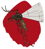 Flying Mosquito Looking for It's Prey to Bite, Vector Illustration Royalty Free Stock Photo