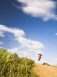 Flying moto Stock Photo