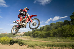 Flying moto Stock Image