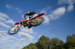 Flying moto from below Royalty Free Stock Photography