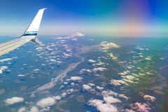 Flying by Mount Rainier in Washington State Royalty Free Stock Image