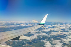 Flying by Mount Rainier in Washington State park views from a co Stock Image