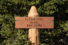 Flying Mountain Elevation Sign. At Peak in Acadia National Park Stock Photography