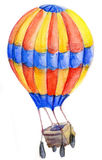 Flying multicolored balloon. With ballast bags on white background. Watercolor illustration Stock Image