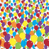 Flying multicolored balloons, seamless background. Royalty Free Stock Photography