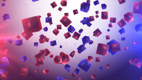 Flying multicolored and transparent cubes in air. Enigmatic 3d rendering of flying cubes in the air of purple and violet colors with round balls inside. The Stock Photography