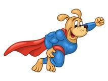 Flying super hero dog. Flying muscular dog in super hero suit on white background Stock Image