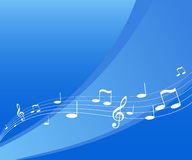 Flying music. On blue background. Vector art Royalty Free Stock Photography
