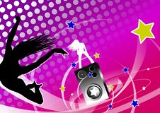 Flying on the music. Illustration of a woman flying on the waves from speakers. Another one is dancing on Royalty Free Stock Photo