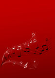 Flying music on red background. Vector art Stock Photography