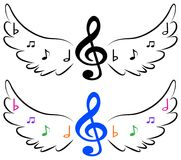 Flying music symbols in wings Stock Photography