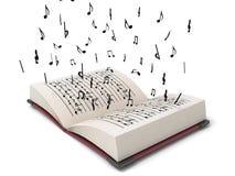 Flying musical notes. 3D  flying musical notes from books Royalty Free Stock Photos