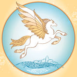 Flying Mythological Pegasus. The series of mythological creatures Stock Images
