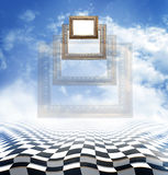 Flying аncient carved baguettes on an abstract fantasy background with checkerboard floor Stock Photos