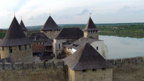 Flying near medieval fortification complex stock footage