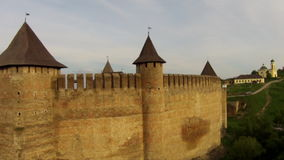 Flying near medieval fortification complex stock video