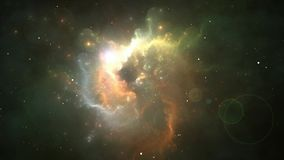 Flying through nebula and star fields stock video footage