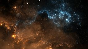 Flying through nebula and star fields in deep space. Animation stock footage