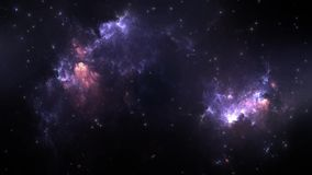 Flying through nebula and star fields in deep space stock video footage