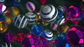Flying New Year Sparkling Balls. An optimistic 3d rendering of glowing glass balls for a Christmas fir tree. They fly over a green floor and create a funny mood Royalty Free Stock Images
