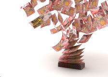 Flying New Zealand Dollar vector illustration