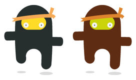 Flying ninjas. Two flying ninjas like kawaii style Stock Photos
