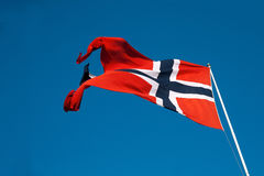 Flying Norway flag Royalty Free Stock Photos