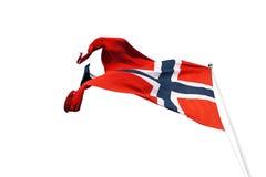 Flying Norway flag, isolated. On white background royalty free stock images