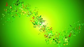 Flying notes on green background