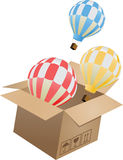 Flying object in carton box-03 Royalty Free Stock Images