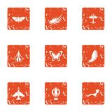 Flying object icons set, grunge style stock illustration