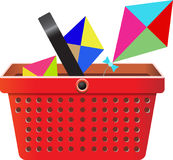 Flying object in shop basket-08 Stock Images