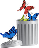 Flying object in trash bin-06. Blue, red and yellow butterflys fly from trash bin. For business icons or other design. Vector illustration stock illustration
