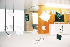 Flying objects in office. Blurry office interior with abstract flying objects and tools. 3D Rendering Stock Images