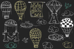 Flying objects set vintage icons Royalty Free Stock Photography