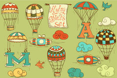 Flying objects set vintage icons Royalty Free Stock Images