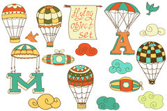 Flying objects set vintage icons isolated Stock Photos