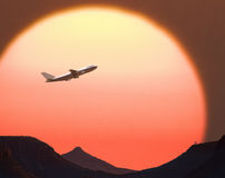 Flying off into the sunset Royalty Free Stock Photos