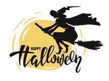Flying old witch. On a broomstick. Vector silhouette Stock Photos