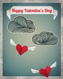 Flying Origami Hearts. /Happy Valentine's Day background, with origami flying hearts,ribbon and clouds Royalty Free Stock Photography
