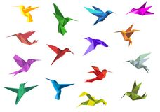 Flying origami hummingbirds or colibri birds Royalty Free Stock Image