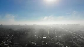 Low-level flight through marine layer clouds stock footage