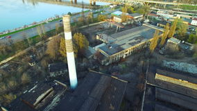 Flying over the abandoned factory stock video