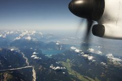Flying over the Alps Stock Photos