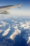 Flying Over the Alps. A view of a part of the Alps (Central Europe) from an airplane Stock Photography
