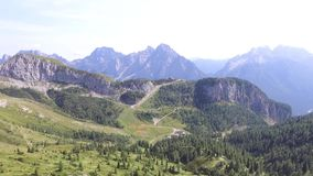 Flying over the Alps. On Olbe lakes stock video footage