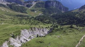 Flying over the Alps. On Olbe lakes stock video