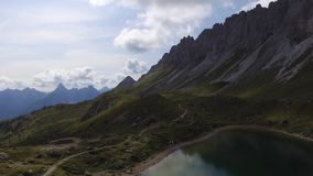 Flying over the Alps. On Olbe lakes stock footage