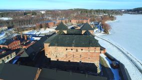 The ancient fortress of the city of Hameenlinna aerial video. Finland stock footage